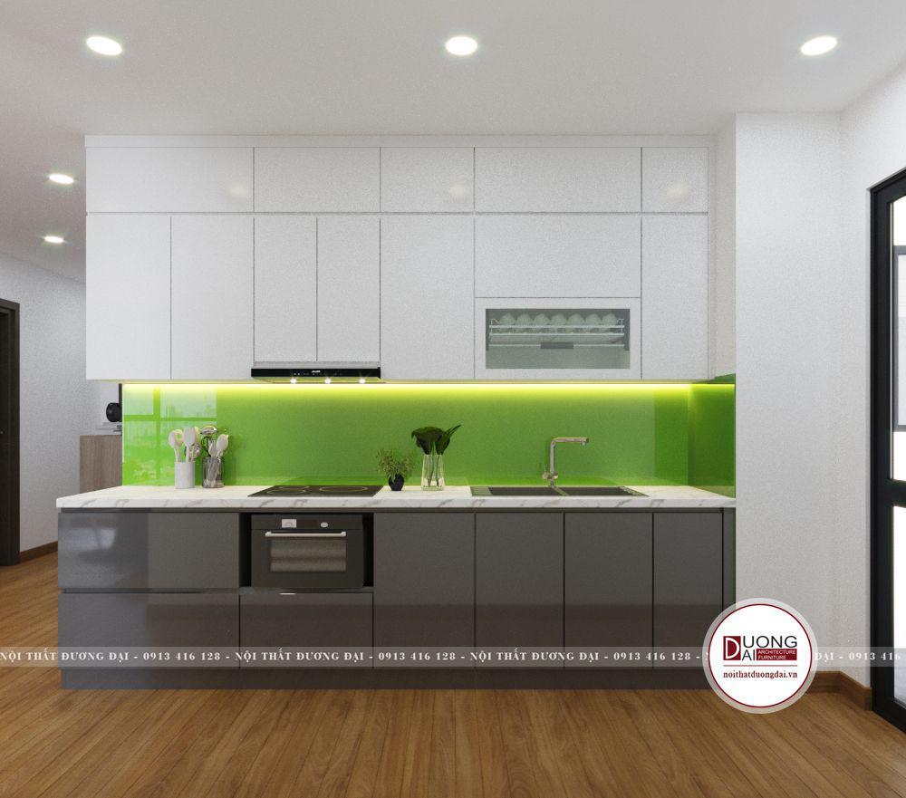 Thiết kế tủ bếp gỗ MFC màu trắng - ghi đơn giản với kiểu dáng chữ i