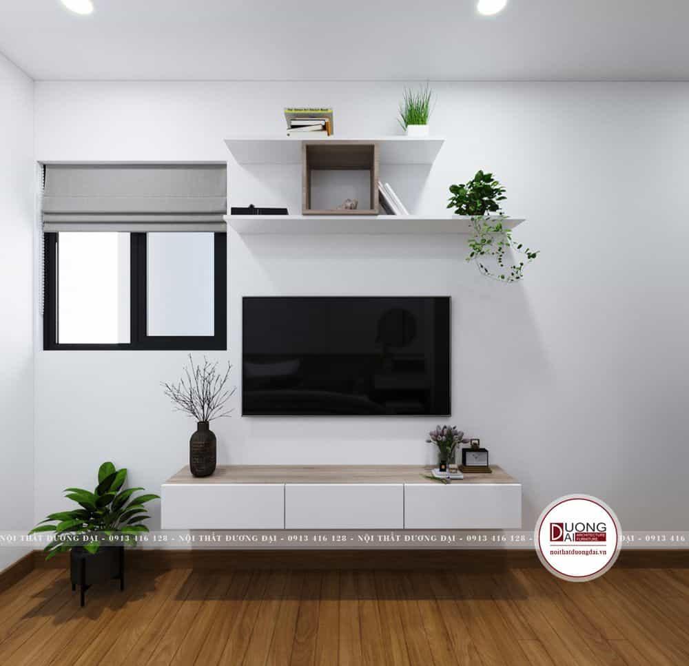 Mẫu kệ gỗ MFC treo tường màu trắng nhỏ gọn và hiện đại