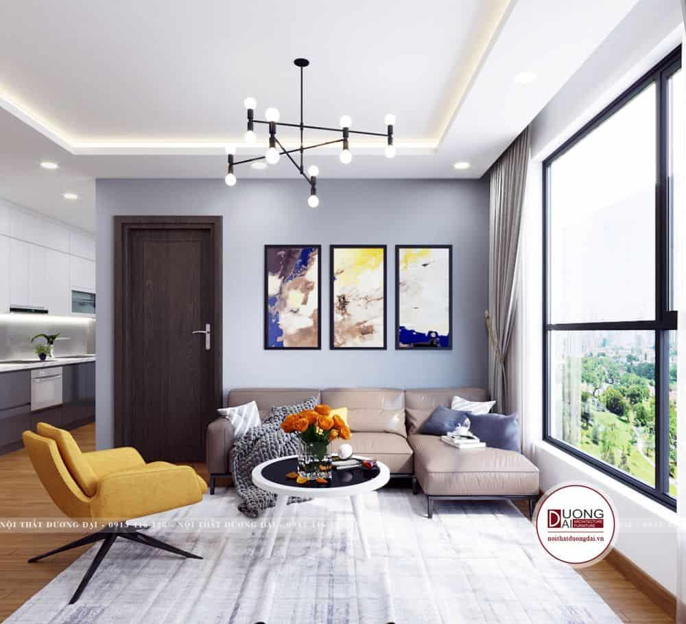 Không gian phòng khách đơn giản với cách phối màu pastel dịu nhẹ