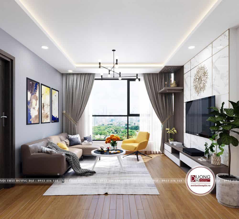Phòng khách được bài trí gọn gàng với gam màu hiện đại, cá tính