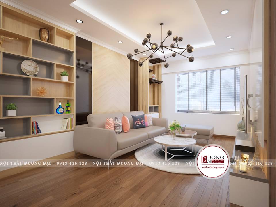 Phòng khách nhỏ gọn theo phong cách hiện đại với nội thất âm tường
