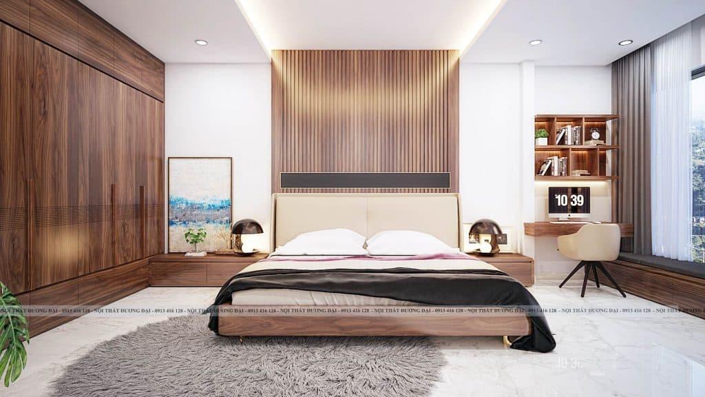 Thiết kế phòng ngủ nhà ống chất liệu gỗ óc chó cao cấp