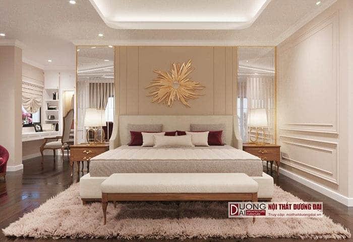 Thiết kế phòng ngủ có khu thay đồ và góc làm việc