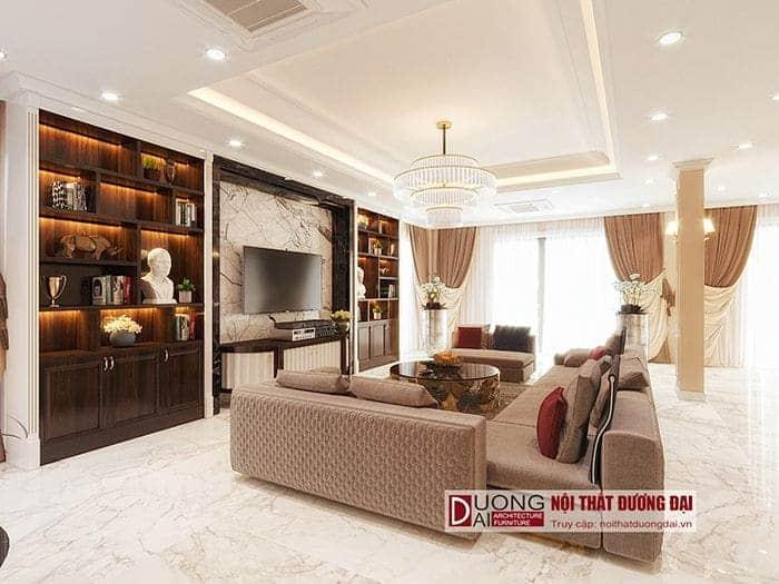 Phòng khách với phong cách tân cổ điển siêu sang trọng