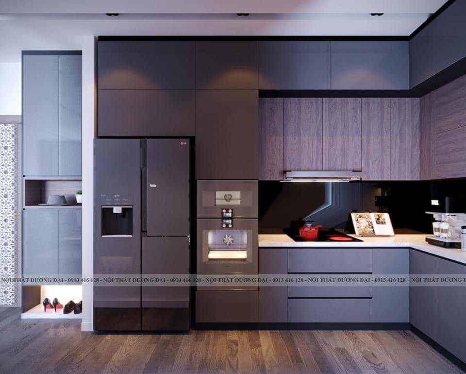 Thiết kế tủ bếp màu đen quyền lực đầy tiện nghi