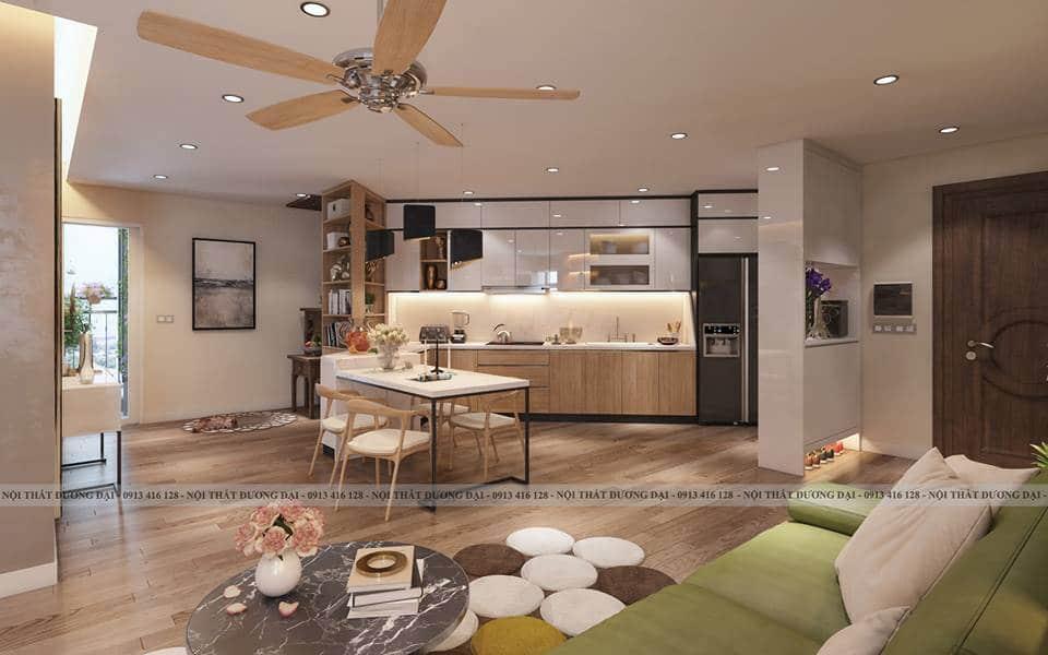 Thiết kế phòng bếp rộng rãi với đầy đủ tiện nghi