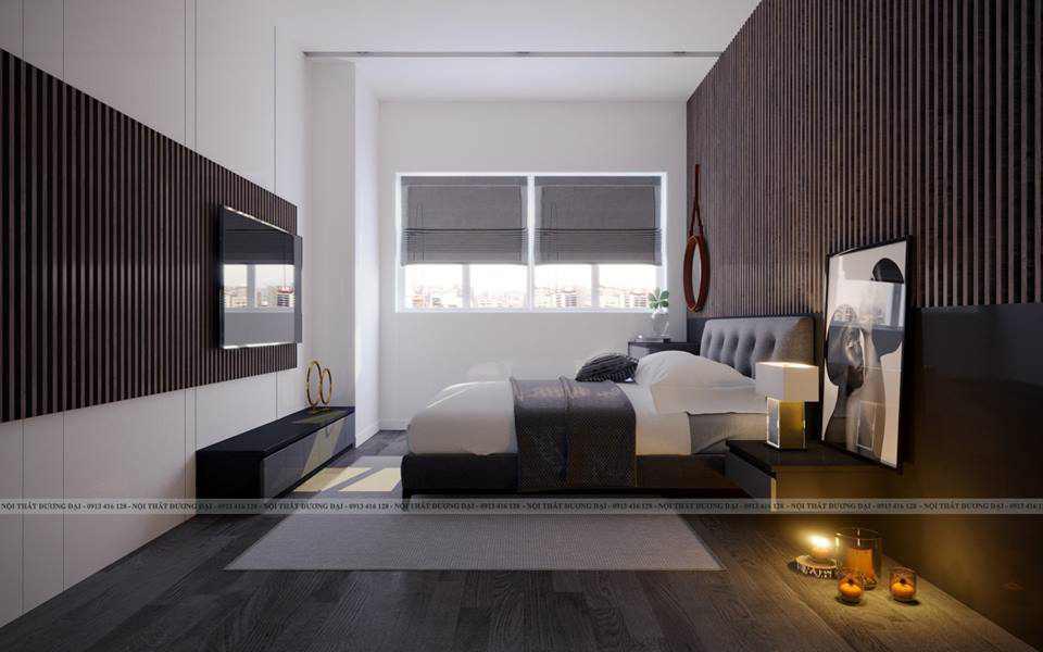 Phòng ngủ Master đẳng cấp với cặp màu tương phản trắng - nâu đen