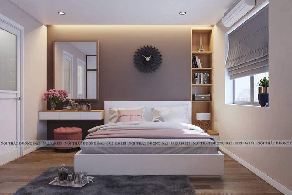 Phòng ngủ Master đầy ấm áp với gam màu pastel