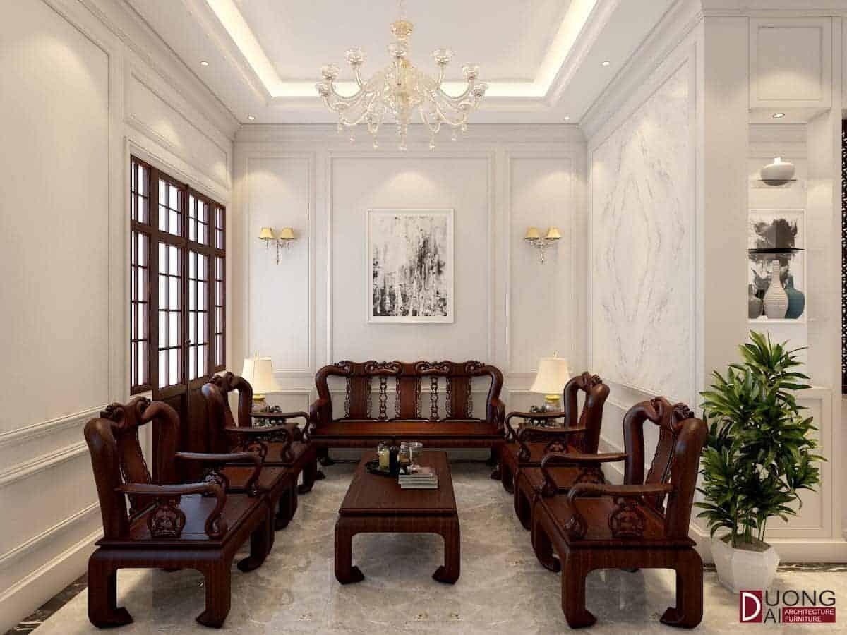 Thiết kế tân cổ với bộ sofa gỗ được điêu khắc tinh xảo