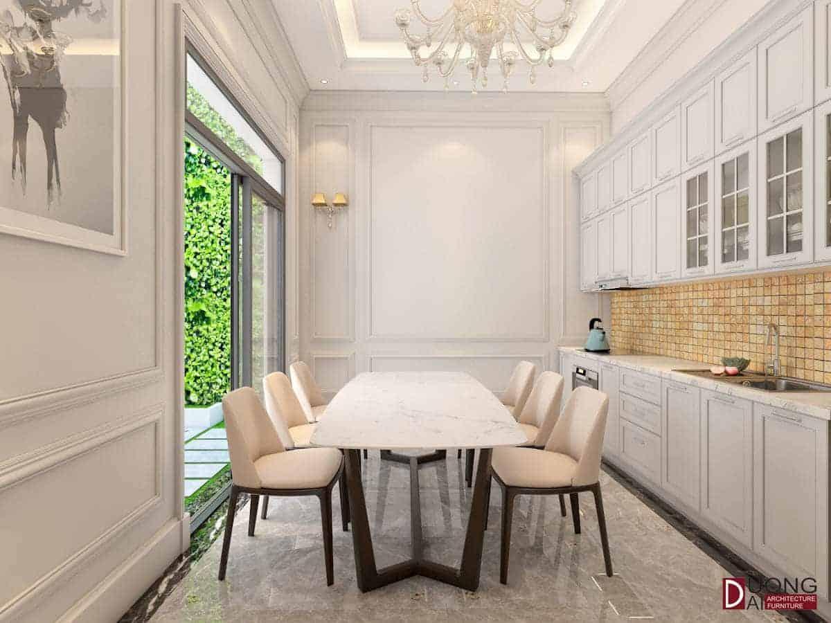 Tủ bếp trắng đơn giản nhưng lại rất sang trọng và đẳng cấp
