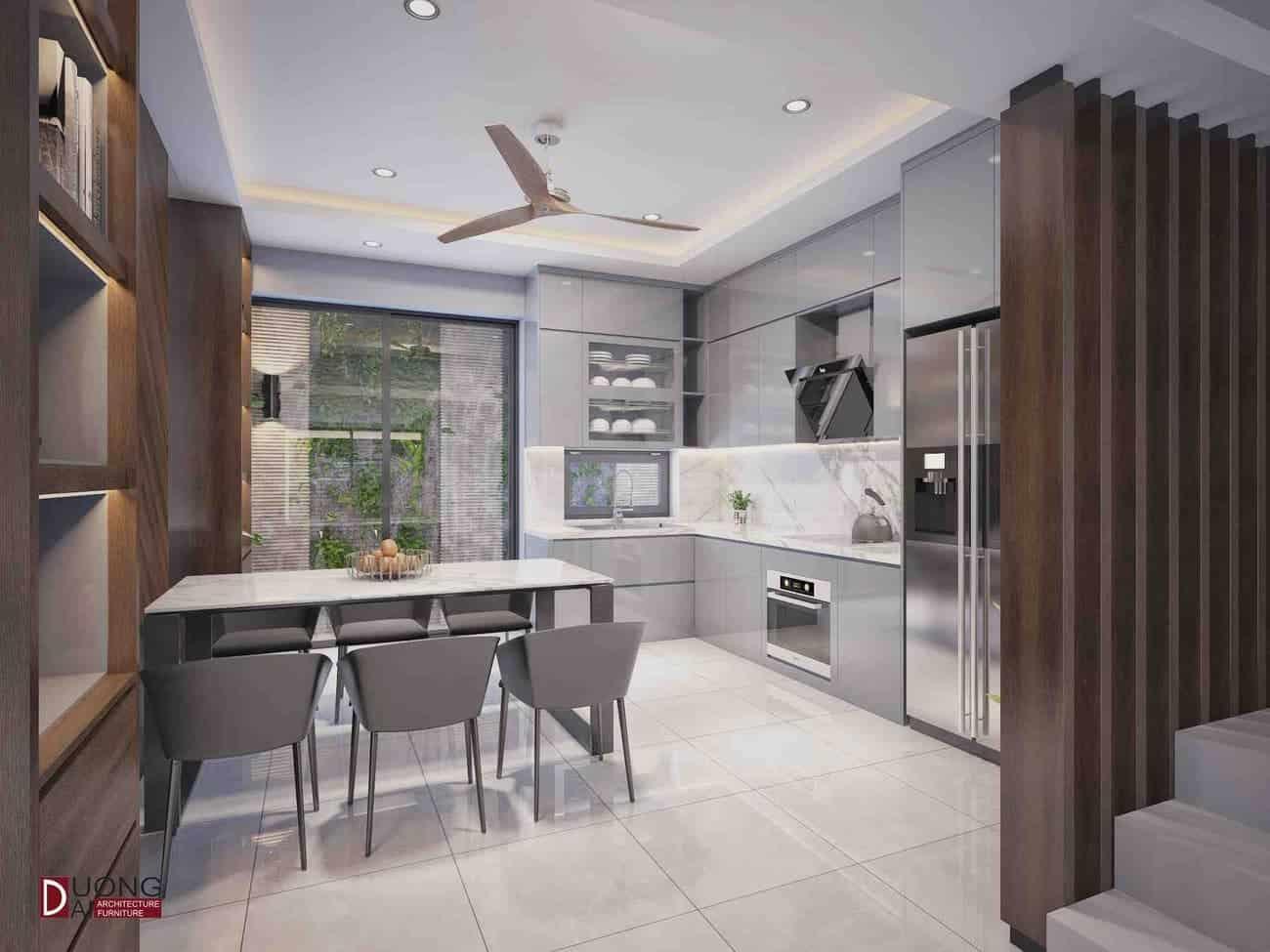 Thiết kế tủ bếp Acrylic sang trọng với màu ghi sáng trang nhã