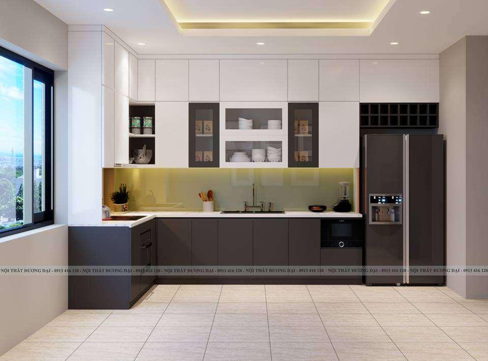 Tủ bếp chữ L với màu sắc trắng - đen cá tính cho nhà phố nhỏ hẹp