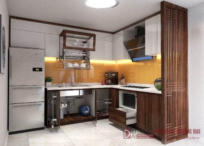 Gỗ công nghiệp chống ẩm được nhiều gia đình lựa chọn để làm tủ bếp.