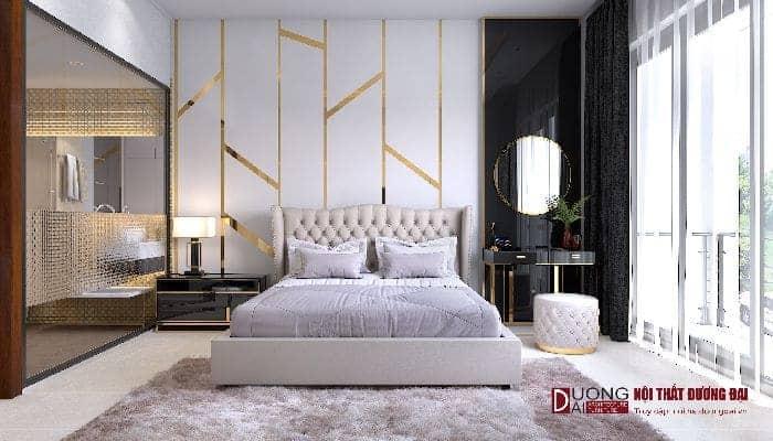 Thiết kế nội thất phòng ngủ bằng gỗ công nghiệp.