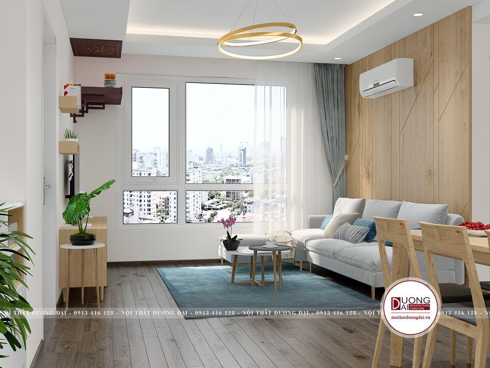 Phòng khách nhỏ với cách bài trí nội thất gọn gàng, đơn giản