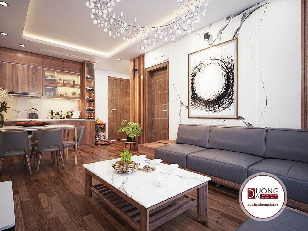 Những tông màu trầm của gỗ tự nhiên sẽ tôn lên vẻ đẹp cho cả căn phòng.