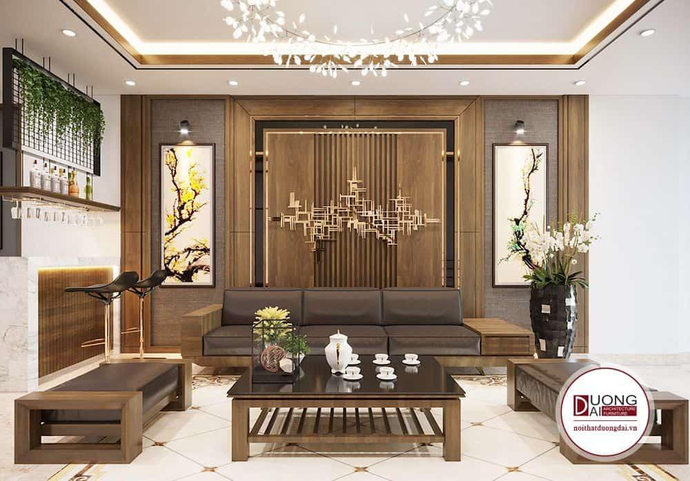 Mẫu thiết kế nội thất phòng khách nhà chị Nhạn.