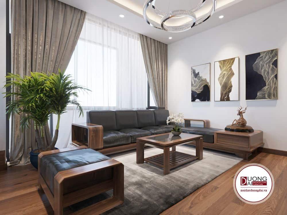 Bộ sofa gỗ tự nhiên được thiết kế tỉ mỉ và chi tiết.