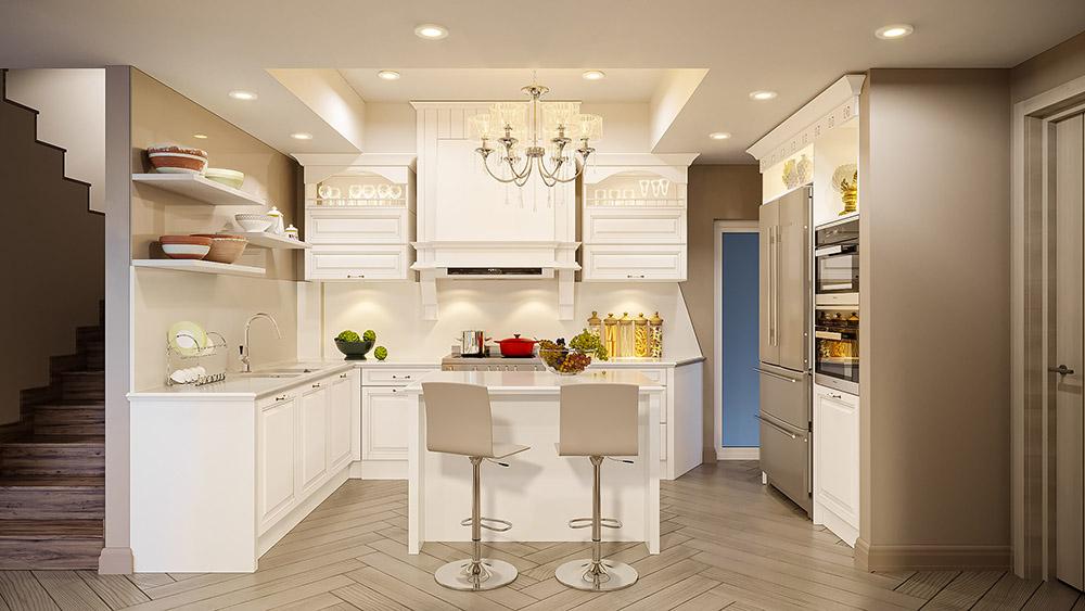Chùm đèn lớn giúp phòng bếp luôn ấm áp và sáng hơn