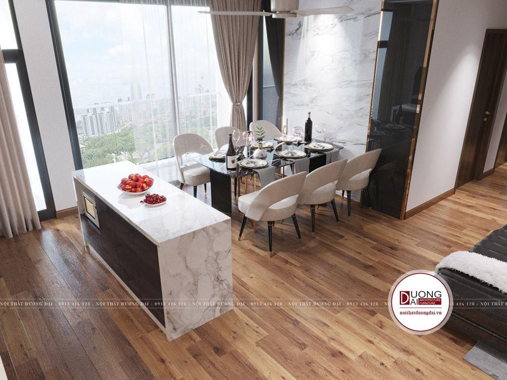 Đặt tủ bếp, bàn bar bếp và bàn ăn cạnh cửa sổ ngắm cảnh