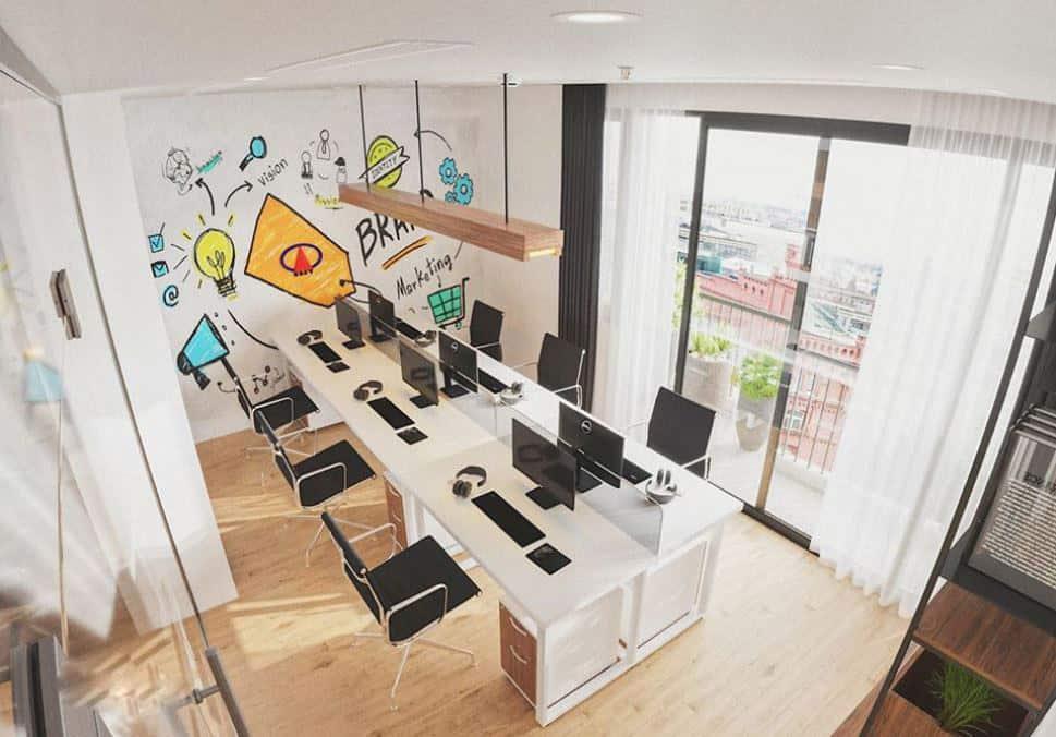 Văn phòng làm việc nhỏ nhưng có tầm nhìn đẹp
