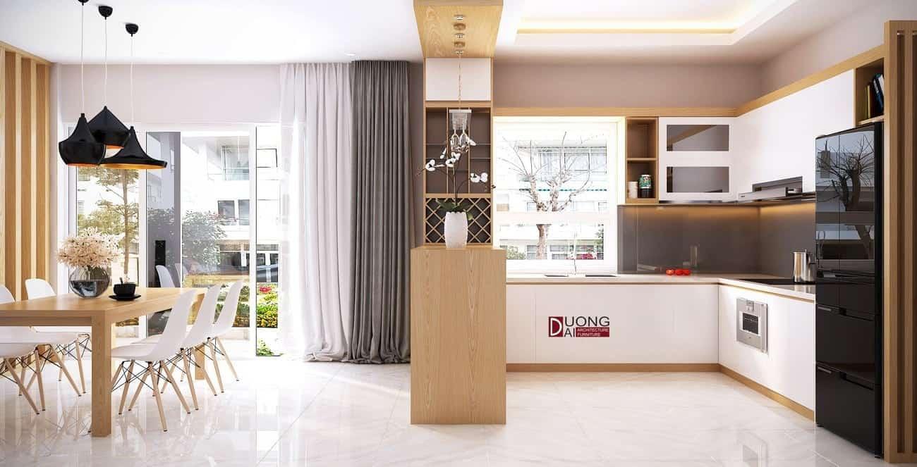 Mẫu phòng bếp và bàn ăn lớn cho gia đình với nội thất tiện nghi