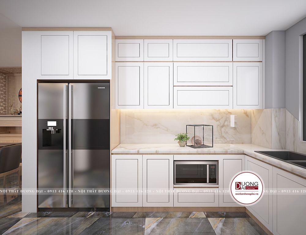 Tủ bếp màu trắng sẽ mở rộng không gian trong diện tích nhỏ