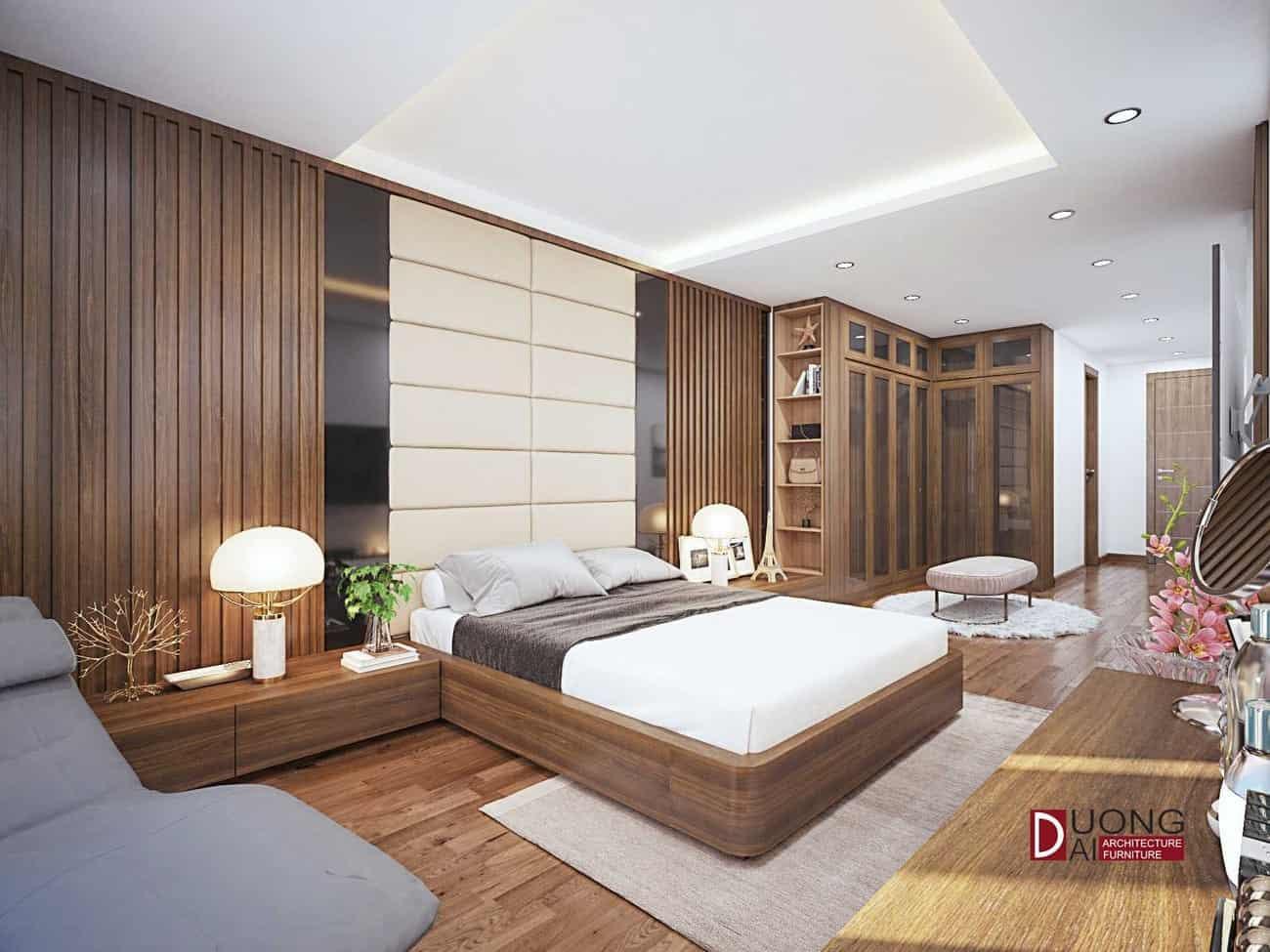 Phòng ngủ Master rộng rãi với kệ tủ và tủ quần áo gỗ MDF phủ Laminate