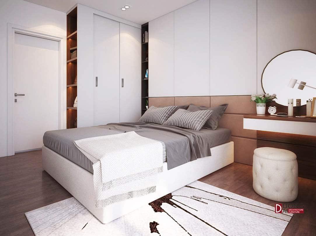 Mẫu phòng ngủ với tủ quần áo cánh trượt màu trắng