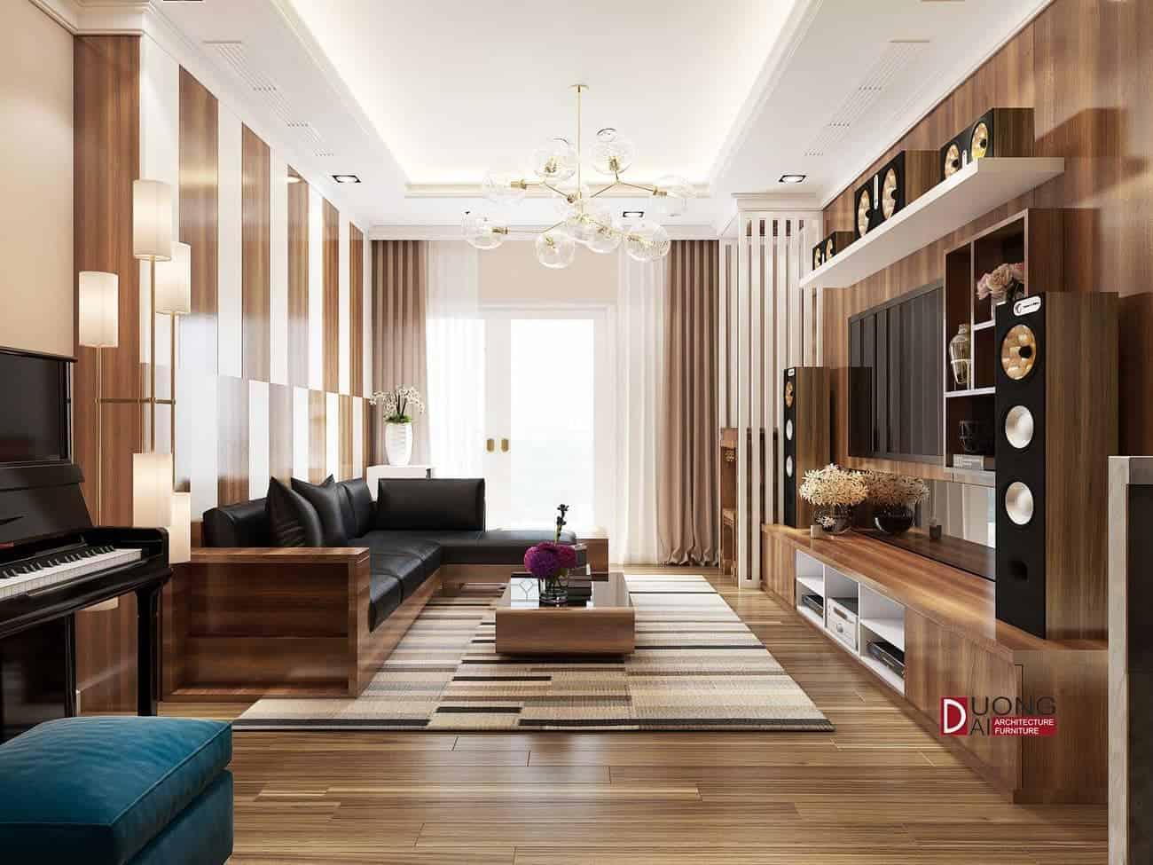 Sàn gỗ màu vân gỗ An Cường, đẹp, giá thành rẻ nhà anh Đăng - Imperia Garden.