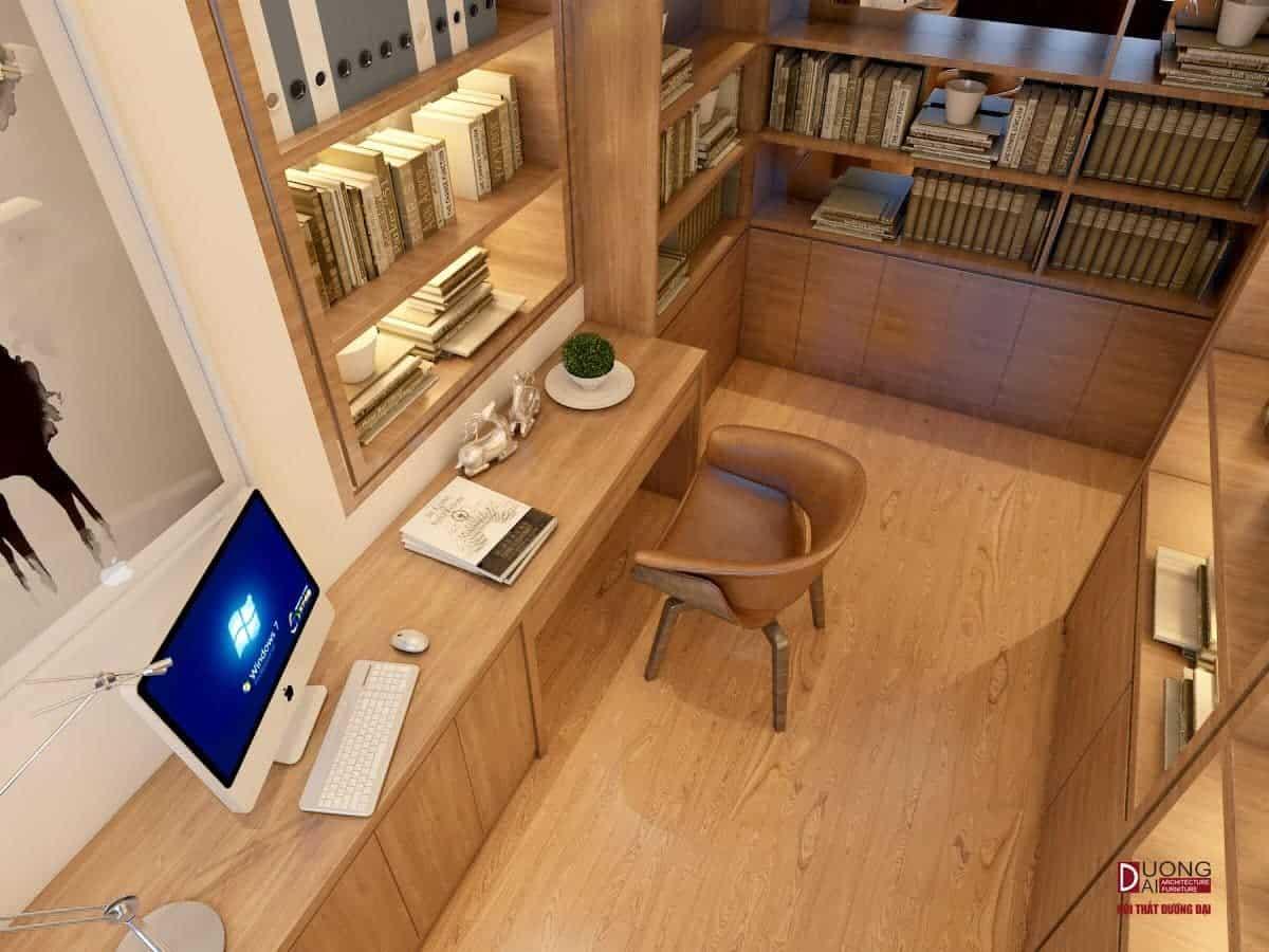 Bàn làm việc gỗ tự nhiên siêu đẳng cấp với tủ sách siêu lớn