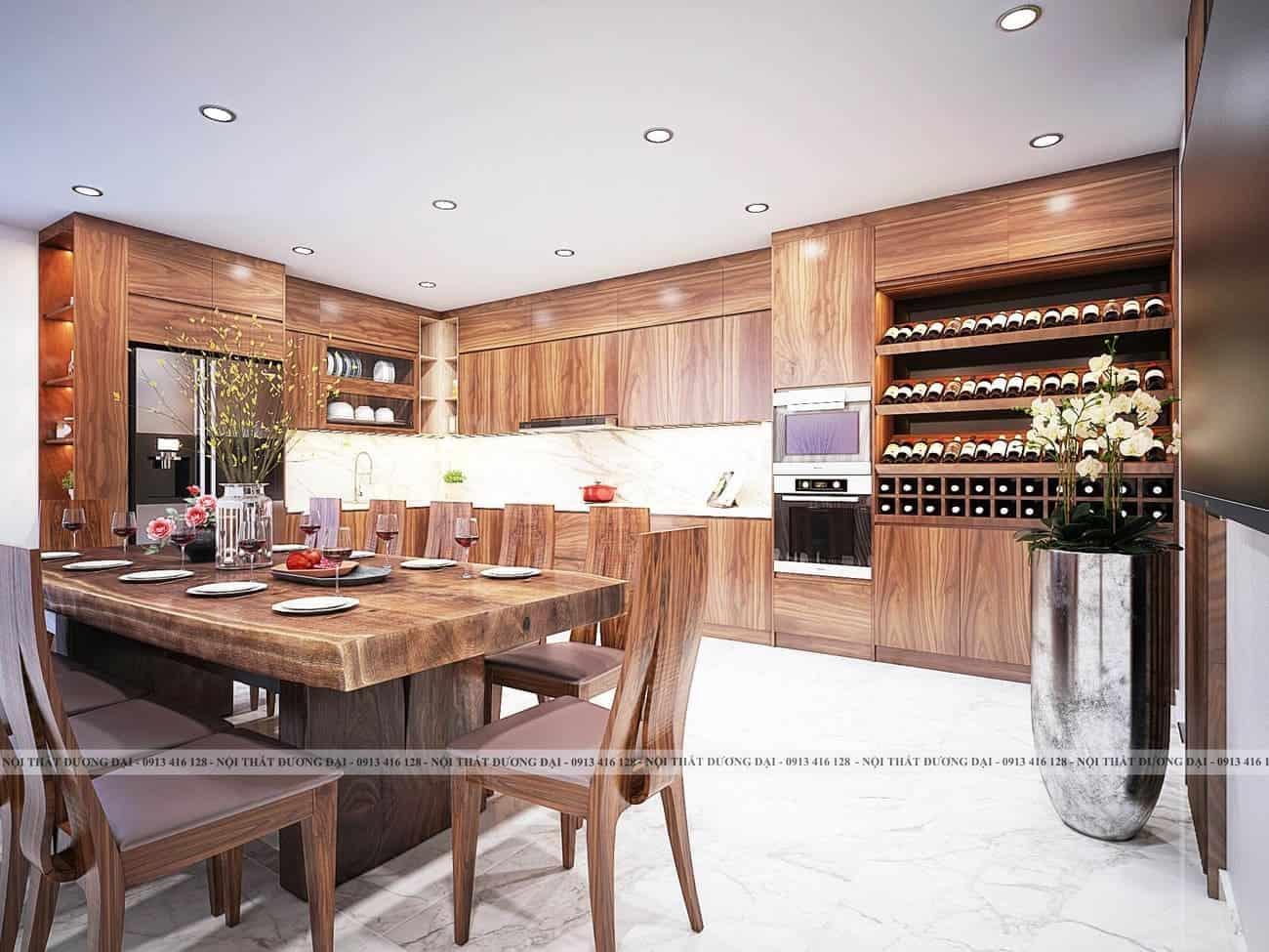 Tủ bếp từ gỗ công nghiệp Veneer có vẻ đẹp không kém gỗ tự nhiên