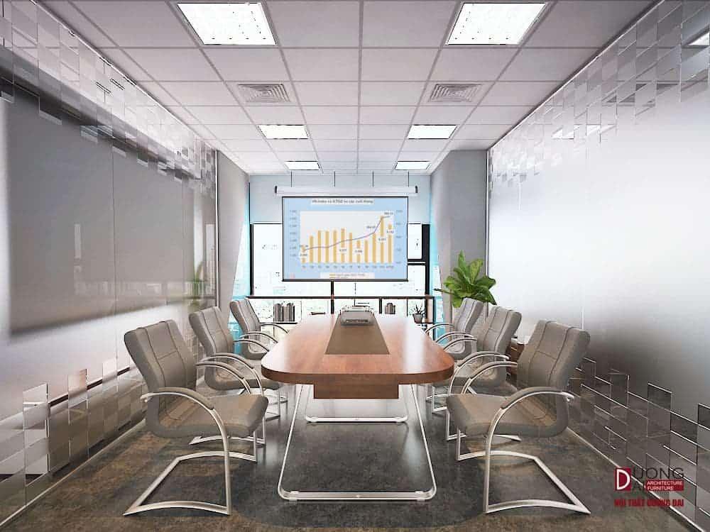Phòng họp được thiết kế thông minh với màn chiếu lớn