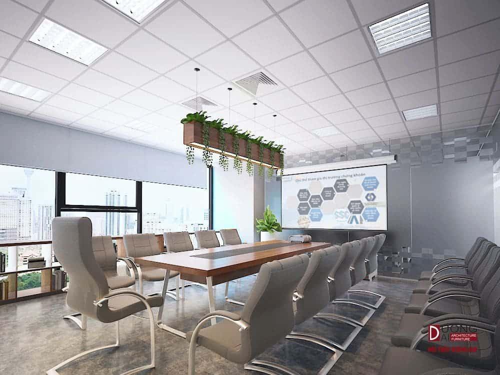 Phòng họp đặt ở vị trí đẹp có cửa sổ kính đón gió và ánh sáng