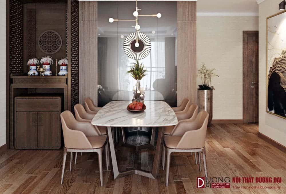 Thiết kế bàn ăn nhỏ gọn và tinh tế với khung gỗ sồi