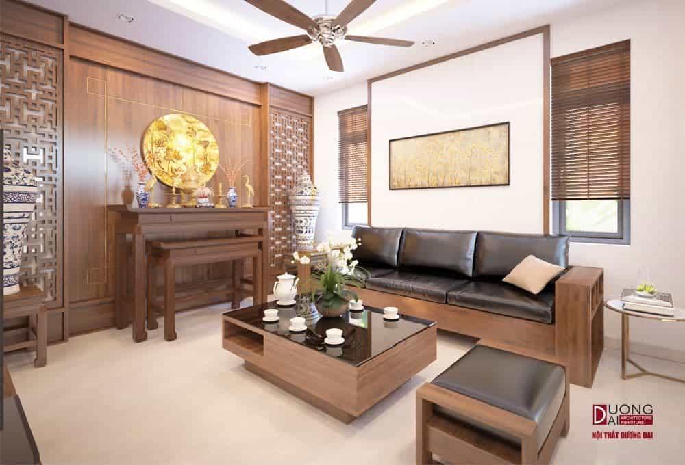 Bàn thờ phòng khách nên có vách gỗ lát tường uy nghi