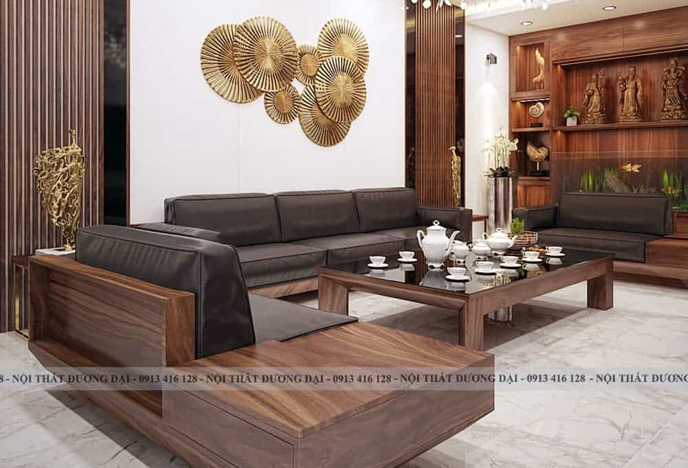 Sofa gỗ óc chó rất được ưa chuộng bởi nét đẹp thẩm mỹ cao