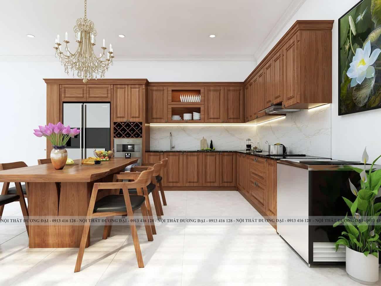 Thiết kế phòng bếp với gỗ tự nhiên trang nhã