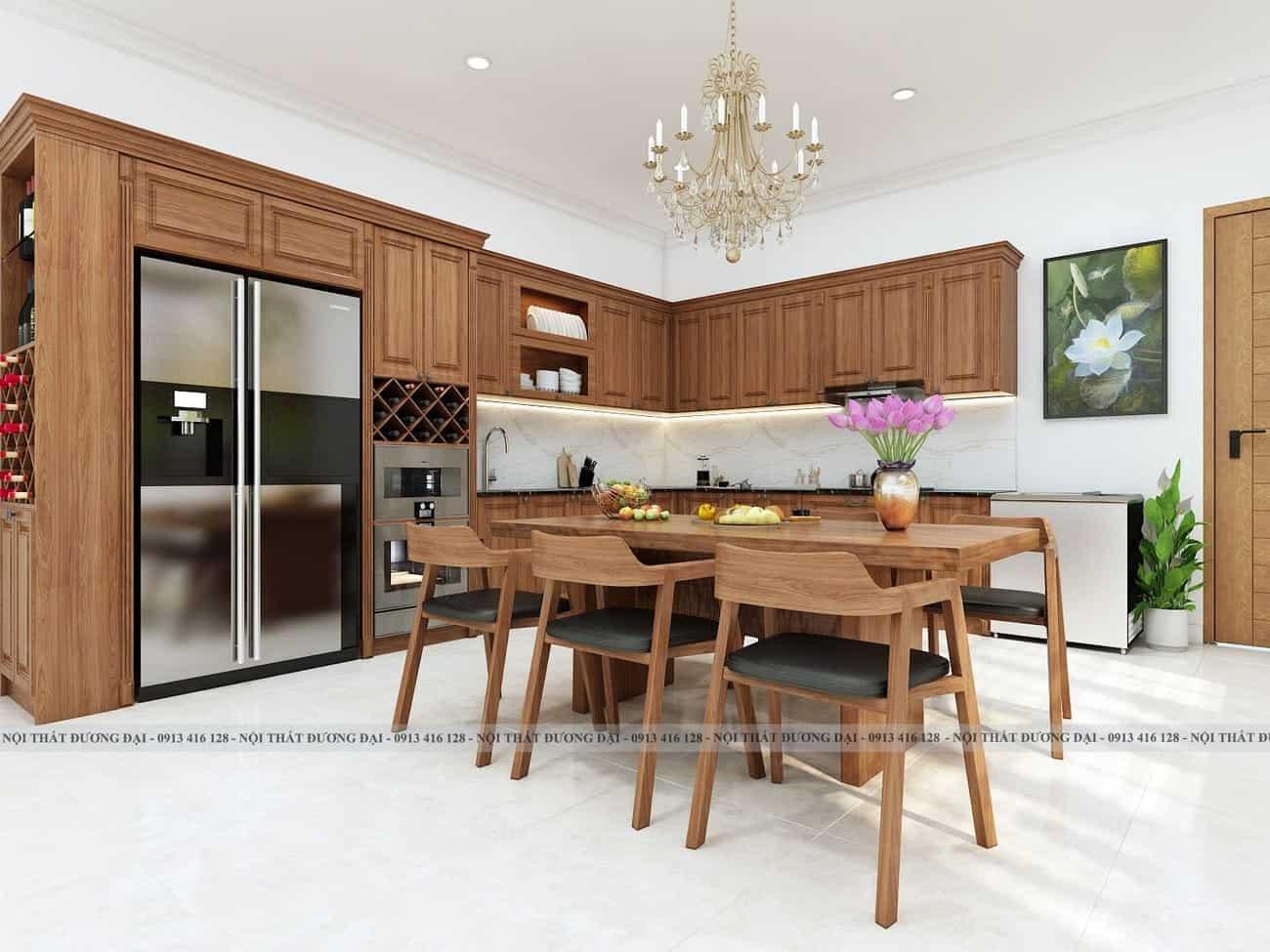 Thiết kế đa năng của tủ bếp kết hợp tủ rượu lớn