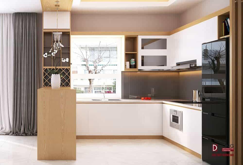 Mẫu tủ bếp gỗ MDF phủ Laminate trắng tinh khôi cho nhà phố