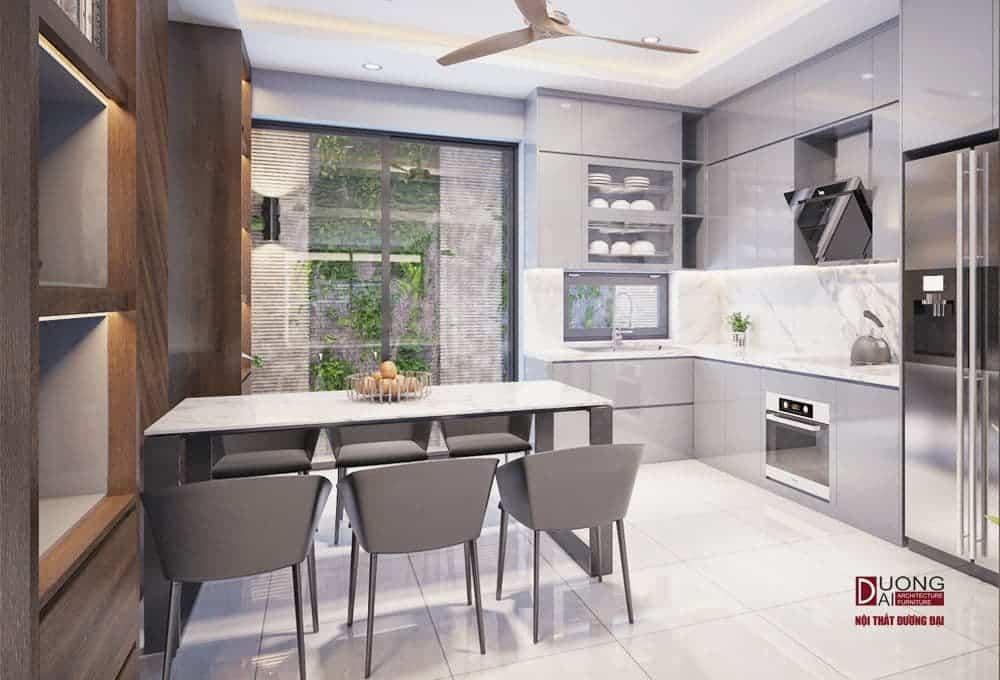 Tủ bếp được làm bằng gỗ công nghiệp An Cường.