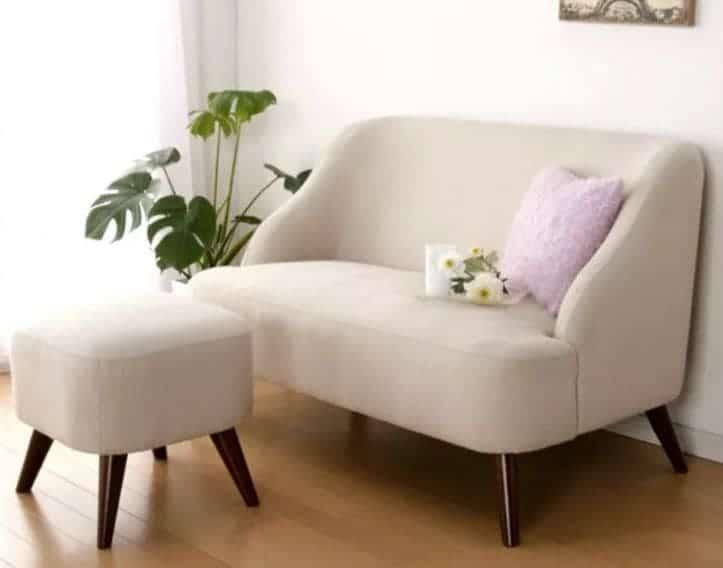 Ghế sofa mini nỉ Màu Trắng có gối và ghế nhỏ thư giãn
