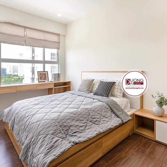 Giường ngủ gỗ công nghiệp phủ Melamine cũng rất đẹp và bền