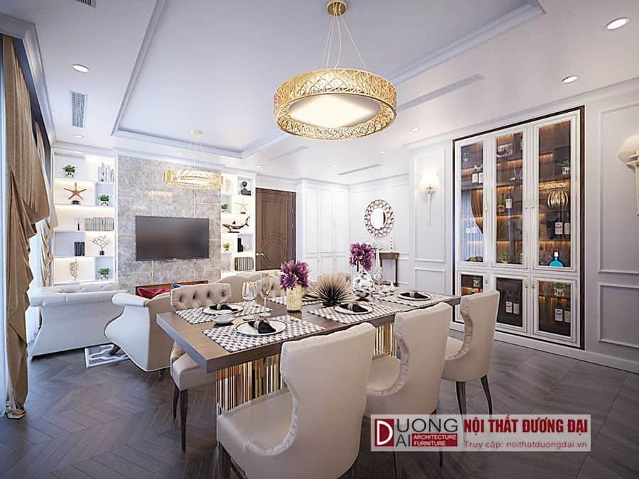 Mẫu tủ rượu âm tường màu trắng cho không gian chung cư