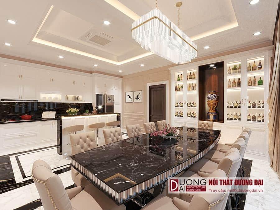 Thiết kế tủ rượu màu trắng đẳng cấp cho phòng bếp biệt thự sang trọng