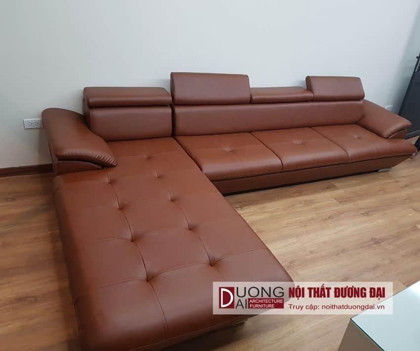 Sofa da chữ L màu đen kích thước 2m4 giá rẻ tại Hà Nội