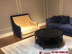 Sofa mini đẹp chất liệu nỉ màu Xanh Dương, kiểu dáng sang trọng