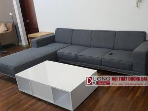 Sofa vải nỉ chữ L màu Xám Đậm giá rẻ, khung inox không rỉ