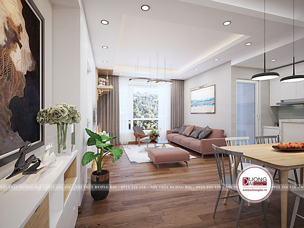 Không gian phòng khách và phòng ăn phối màu trắng - ghi sáng ấm áp