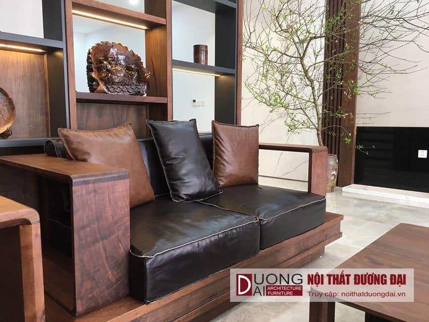 [Thực tế] Bộ sofa gỗ Óc Chó cực sang trọng Vinhome Riverside